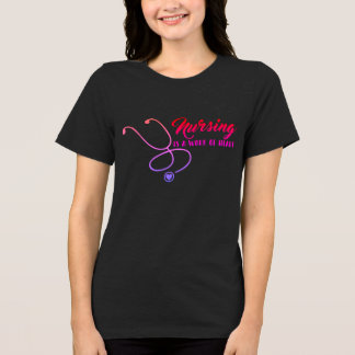 Nursing Is a Work Of Heart Dark T shirt
