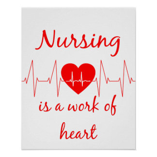 Nursing is a work of the Heart Inspirational Quote Poster