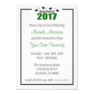 Nursing School 2017 Graduation Invite (Green Caps)