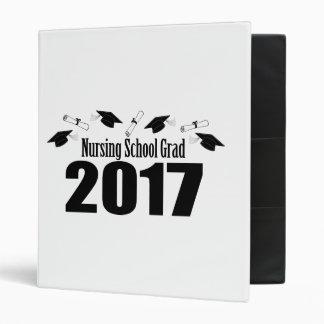 Nursing School Grad 2017 Caps And Diplomas (Black) 3 Ring Binder