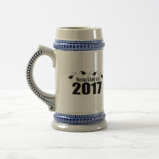 Nursing School Grad 2017 Caps And Diplomas (Black) Beer Stein