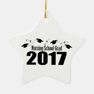 Nursing School Grad 2017 Caps And Diplomas (Black) Ceramic Ornament