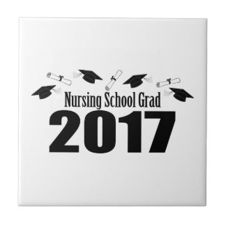 Nursing School Grad 2017 Caps And Diplomas (Black) Tile