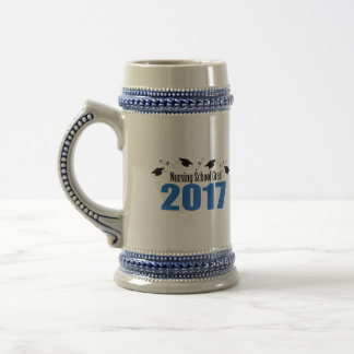 Nursing School Grad 2017 Caps And Diplomas (Blue) Beer Stein