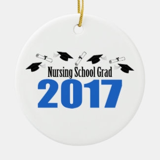 Nursing School Grad 2017 Caps And Diplomas (Blue) Ceramic Ornament
