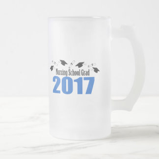 Nursing School Grad 2017 Caps And Diplomas (Blue) Frosted Glass Beer Mug