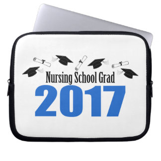 Nursing School Grad 2017 Caps And Diplomas (Blue) Laptop Sleeve