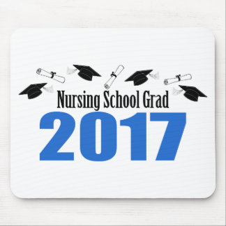 Nursing School Grad 2017 Caps And Diplomas (Blue) Mouse Pad