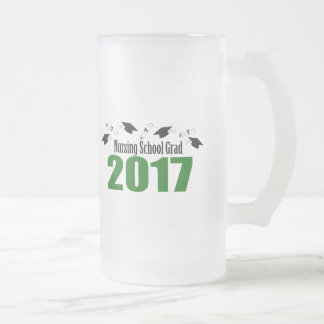 Nursing School Grad 2017 Caps And Diplomas (Green) Frosted Glass Beer Mug