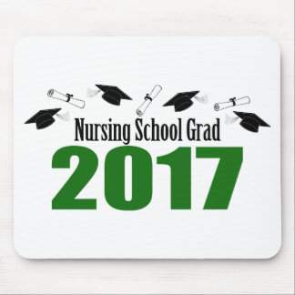 Nursing School Grad 2017 Caps And Diplomas (Green) Mouse Pad