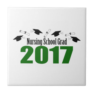 Nursing School Grad 2017 Caps And Diplomas (Green) Tile