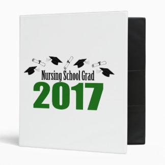Nursing School Grad 2017 Caps And Diplomas (Green) Vinyl Binder