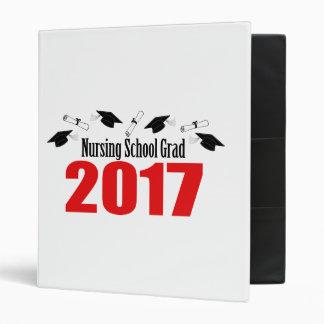 Nursing School Grad 2017 Caps And Diplomas (Red) 3 Ring Binder