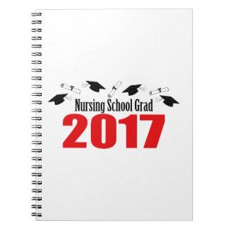 Nursing School Grad 2017 Caps And Diplomas (Red) Notebook