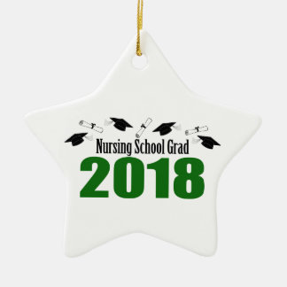 Nursing School Grad 2018 Caps And Diplomas (Green) Ceramic Ornament