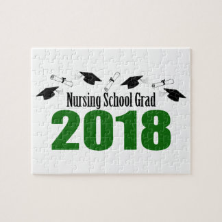 Nursing School Grad 2018 Caps And Diplomas (Green) Jigsaw Puzzle