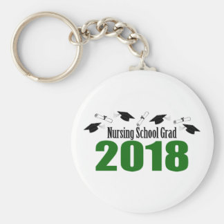 Nursing School Grad 2018 Caps And Diplomas (Green) Keychain