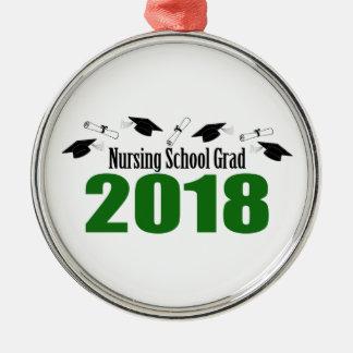 Nursing School Grad 2018 Caps And Diplomas (Green) Metal Ornament