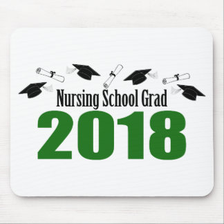 Nursing School Grad 2018 Caps And Diplomas (Green) Mouse Pad