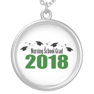 Nursing School Grad 2018 Caps And Diplomas (Green) Silver Plated Necklace