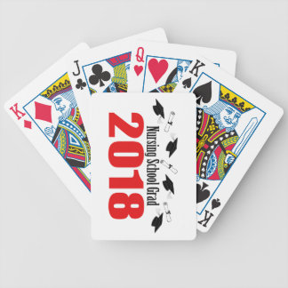 Nursing School Grad 2018 Caps And Diplomas (Red) Bicycle Playing Cards