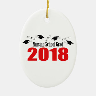 Nursing School Grad 2018 Caps And Diplomas (Red) Ceramic Ornament