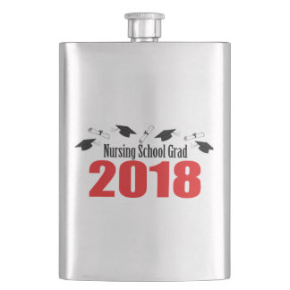 Nursing School Grad 2018 Caps And Diplomas (Red) Hip Flask