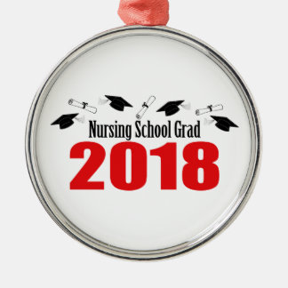 Nursing School Grad 2018 Caps And Diplomas (Red) Metal Ornament