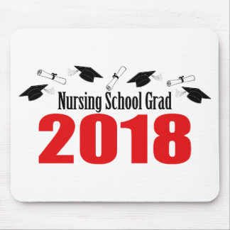 Nursing School Grad 2018 Caps And Diplomas (Red) Mouse Pad