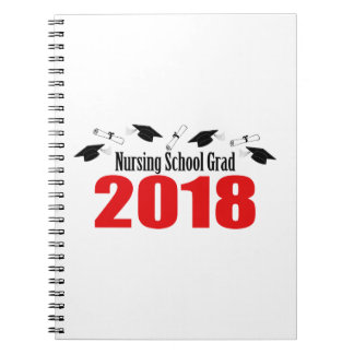 Nursing School Grad 2018 Caps And Diplomas (Red) Notebook
