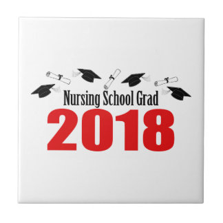 Nursing School Grad 2018 Caps And Diplomas (Red) Tile