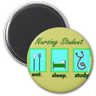 nursing student eat sleep study 2 inch round magnet