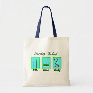 nursing student eat sleep study budget tote bag