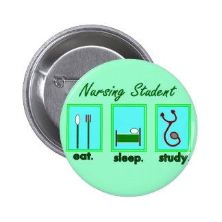 nursing student eat sleep study pinback buttons