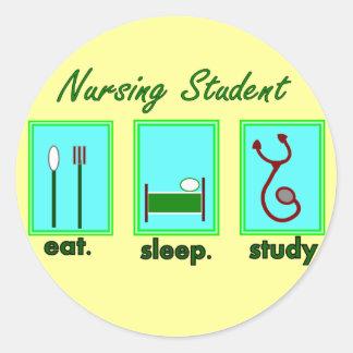 nursing student eat sleep study classic round sticker