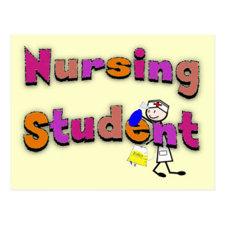Nursing Student Watercolor Art Stick Person Nurse Postcard