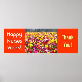 Nursing Week Thank You poster Banner Tulips Nurses
