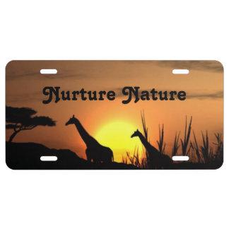 Nurture Nature Giraffes License Plate