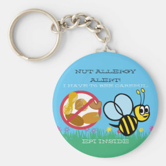 Nut Allergy Alert Bumble Bee Kids Personalized Keychain