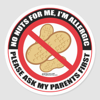 Nut Allergy Classic Round Sticker