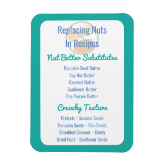 Nut Butter Substitutes Chart Baking Nut Free Rectangular Photo Magnet