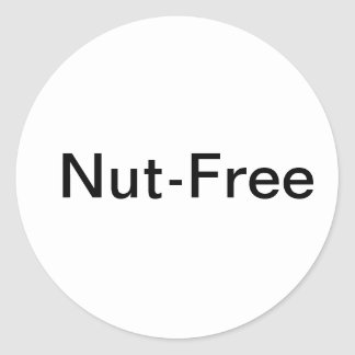 Nut free labels- perfect for school! classic round sticker