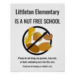 Nut Free School Sign Personalized With School Name
