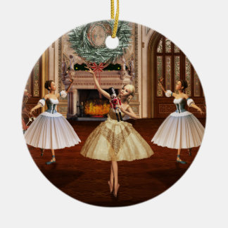 Nutcracker Ballerinas Double Sided Round Ornament