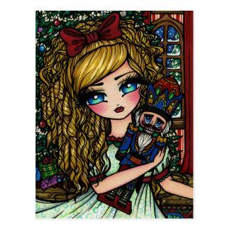 Nutcracker Ballet Girl Christmas Holiday Postcard