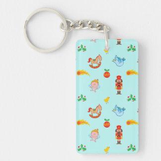 Nutcracker, horse, angel and bird Xmas pattern Keychain