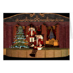 Nutcracker on Stage with Holiday Tree Greeting Cards