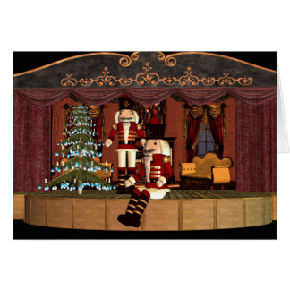 Nutcracker on Stage with Holiday Tree Card