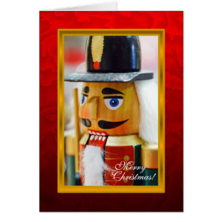 Nutcracker Photo Red Christmas Card