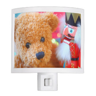 Nutcracker talks to teddy bear night lite
